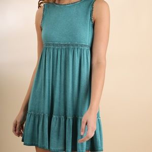 NWT UMGEE Washed Sleeveless Dress w/ Lace Detail